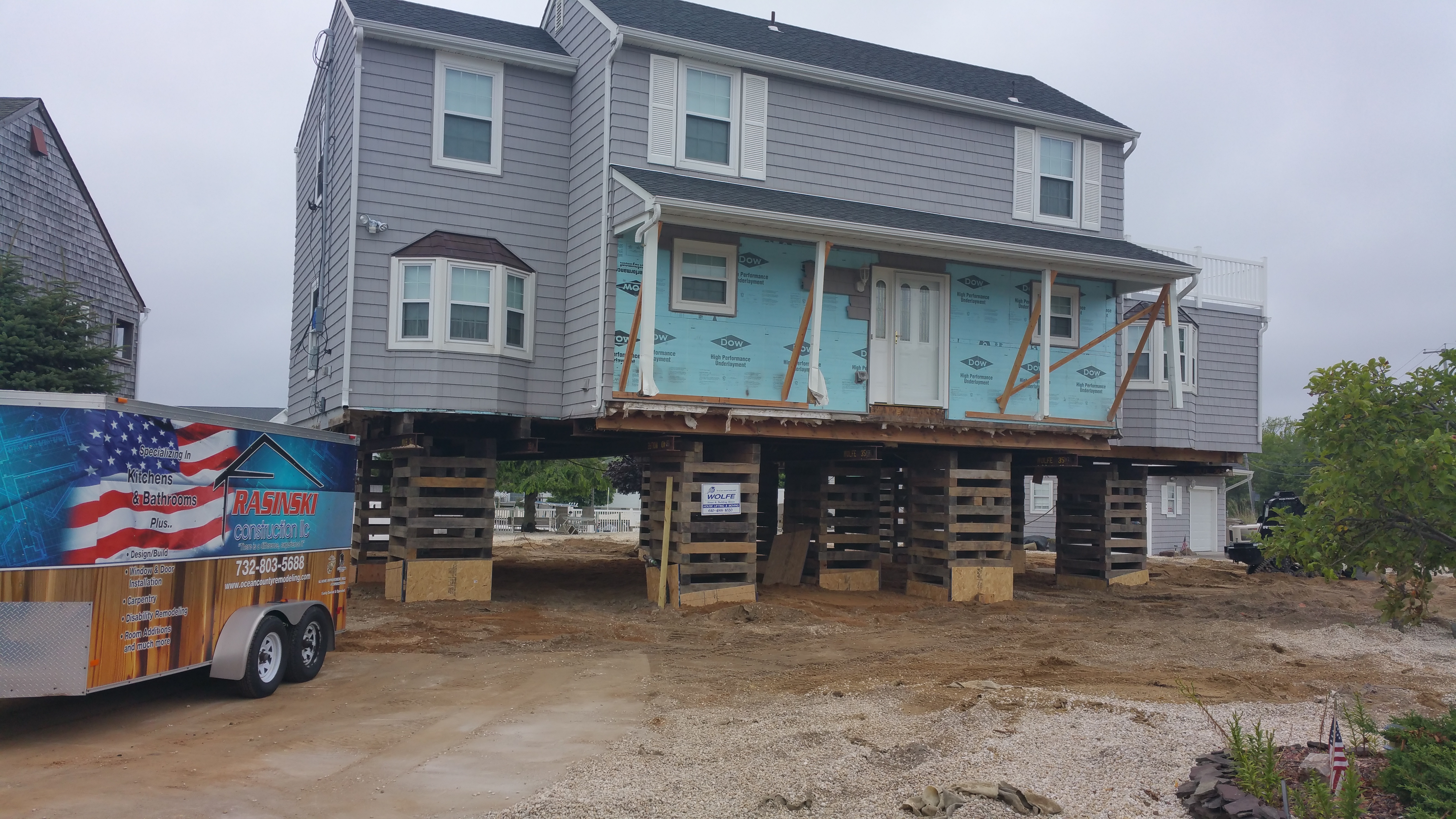 House Raised and Ready for Foundation in Ocean County New Jersey