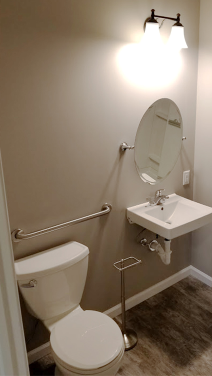 Handicap Accessible Toilet, Sink and Mirror Remodel by Rasinski Construction
