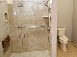 Handicap Bathroom Remodel Before and After in Barnegat Township by Rasinski Construction