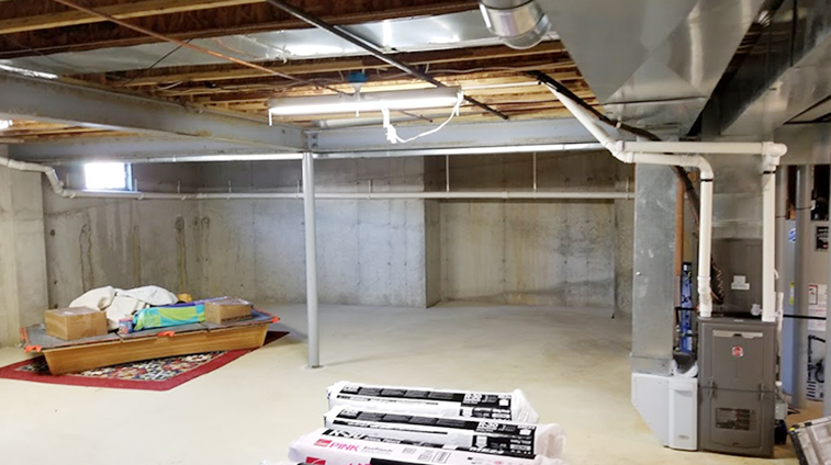 Basement in Ocean County before Rasinski Construction Remodel