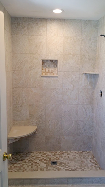 Tiling of Shower for Manasquan NJ Bathroom Remodel by Rasinski Construction