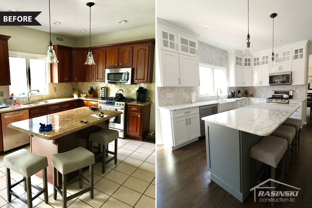 kitchen remodel in mercer county NJ before and after photos - Rasinski Construction