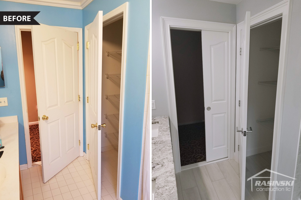 Pocket Door Installation in Ocean County NJ Bathroom Remodel by Rasinski Construction