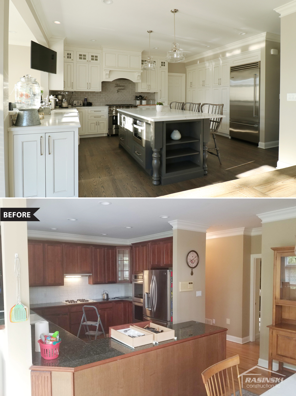 Before and After Photos of Kitchen Remodeling Project in Monmouth County NJ by Rasinski Construction