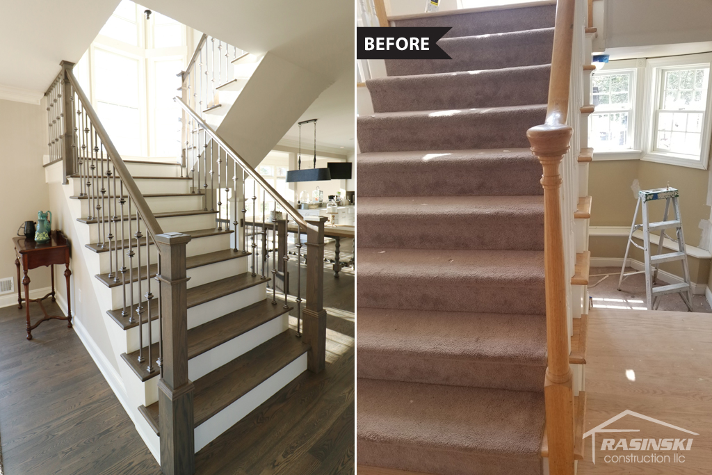 Before and After Photos of Stairs in Monmouth County NJ Kitchen Renovation by Rasinski Construction
